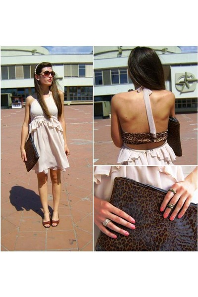 nude Zara dress - dark brown leopard DIY bag - dark brown leather sandals