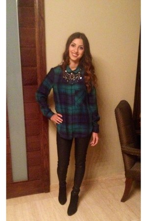 black Zara boots - black leather Topshop leggings - green Zara blouse