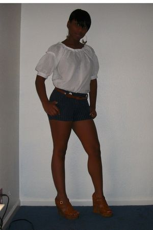 BCBG shirt - blue Forever21 shorts - Soda shoes