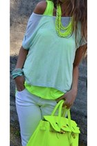 chartreuse shirt - chartreuse bag - white t-shirt - white pants