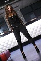 black boots - black bodysuit