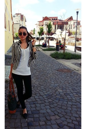 black H&M sunglasses - black blazer - white blouse - black pants - black flats