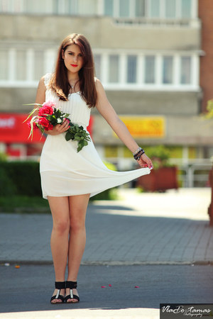 white dress - black sandals