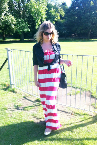 stripy Primark dress - Equpiment shirt - Mulberry bag - Tom Ford sunglasses