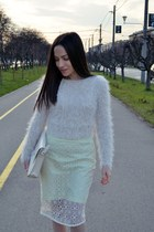 lime green H&M skirt - light brown Zara boots - beige Zara bag