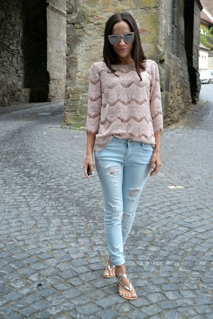 light pink Zara blouse - heather gray shoes - light blue jeans