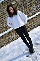 black hm boots - dark gray hm coat - black leather Zara pants