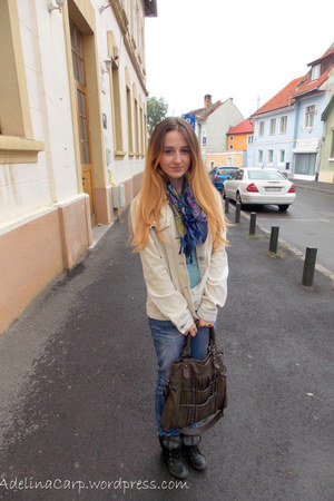 blue scarf - beige cappucini jacket - sky blue versace shirt - dark brown bag