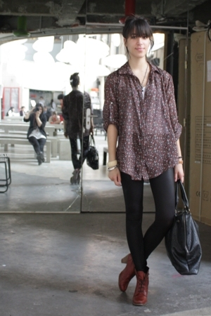 Maje blouse - American Apparel leggings - Mango top - Topshop shoes - Addicted p