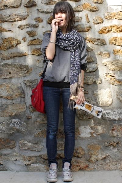 purple H&M scarf - purple Converse shoes - blue Cheap Monday jeans