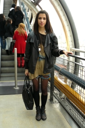 SANDRO dress - grandpas blazer - shorts - Topshop boots - H&amp;M socks
