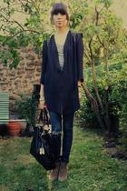 beige wedges Zara boots - blue Cheap Monday jeans - black Addicted purse