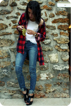 black new look shoes - red Episode shirt - white Petit Bateau top