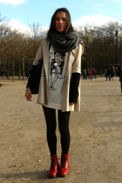 united colors of benetton sweater - Zara shirt - Maje coat - Wolford tights - Dr