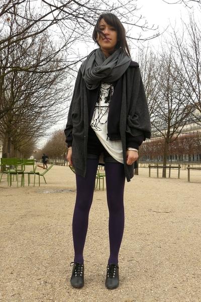 white Zara shirt - gray Quai de Scene shoes - gray Version Originale sweater