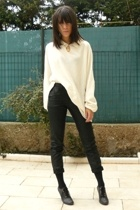 april 77 pants - tights - Les Quais de Paris shoes - Zara sweater - Maje blazer