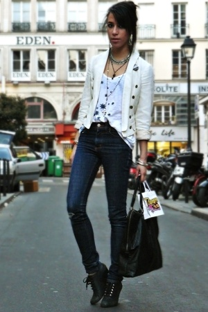 Cheap Monday jeans - Topshop blazer - SANDRO top - Quai de Scene shoes - Addicte