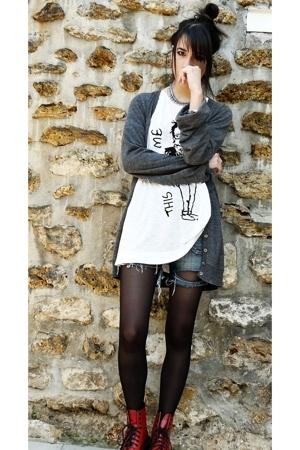united colors of benetton jacket - Zara shirt -  shorts - Dr Martens boots