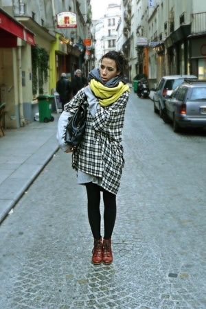 Maje scarf - American Apparel scarf - Maje dress - Topshop shoes