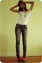 silver les jumelles necklace - red Dr Martens boots - blue SANDRO jeans