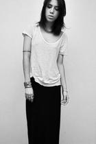 black thrifted skirt - white Zara shirt