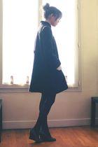 black Maje coat - black H&M tights - gray Jonak shoes