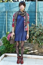red Topshop shoes - blue oversized tee American Apparel dress