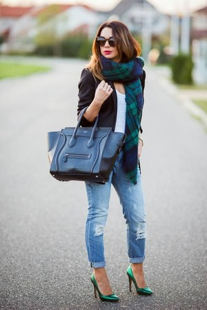 light blue jeans - dark gray jacket - white top