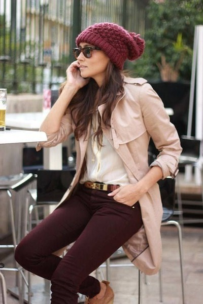 light pink coat - brick red hat - cream shirt - crimson pants