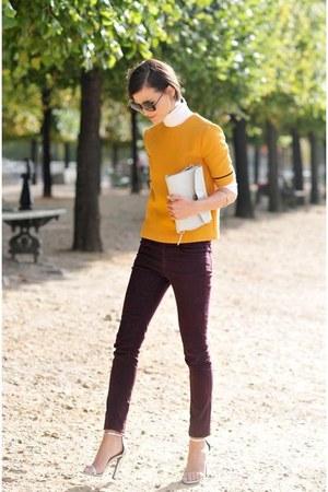 tawny sweater - crimson pants