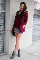 crimson coat - charcoal gray boots - crimson shirt - heather gray skirt
