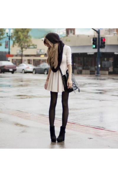 black boots - eggshell coat - black leggings