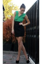 black heels - olive green top - black skirt - silver watch