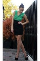 black heels - olive green top - black skirt - silver watch