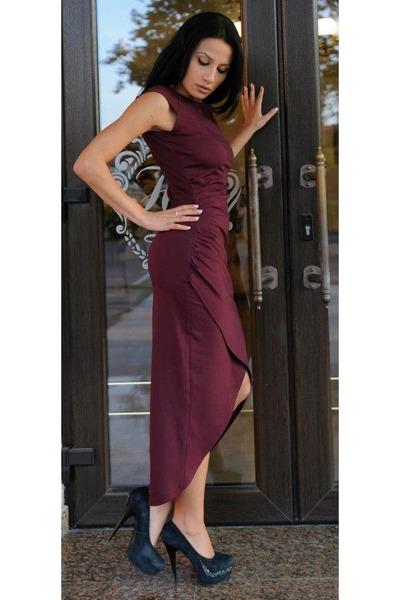 Maroon Dresses, Black Heels   \