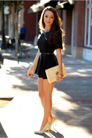 black dress - beige purse - neutral heels