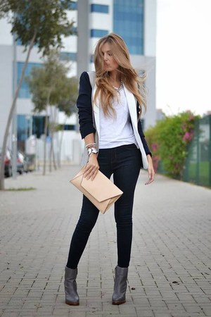 dark gray jacket - nude purse - white blouse - black pants