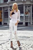white jeans - white blouse - black heels