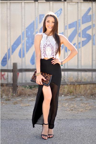 black skirt - white top