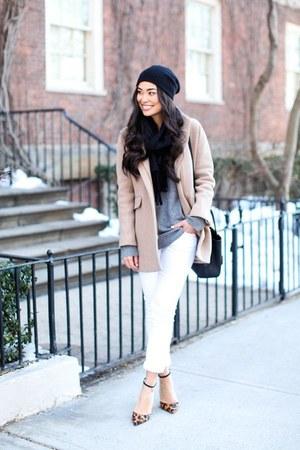 neutral coat - white pants