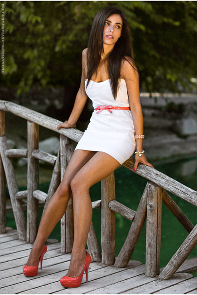 """Salmon Belts, White Dresses, Salmon Heels   """"miss you summer"""" by ..."""