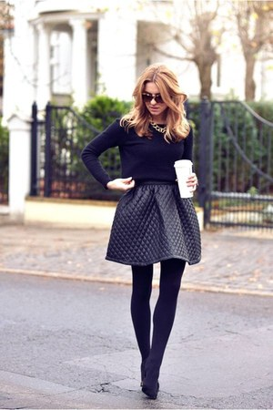black sweater - black leggings - black skirt