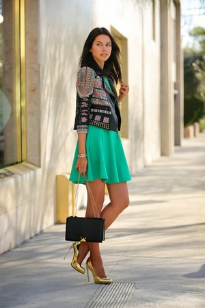 turquoise blue dress - black leather jacket