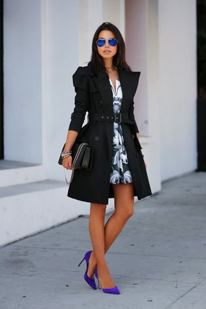 navy sunglasses - black coat - navy heels