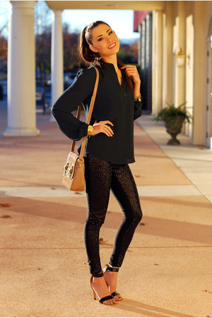 dark gray shirt - bronze purse - black pants