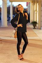 dark gray shirt - bronze purse - black pants