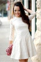 white dress - bubble gum purse