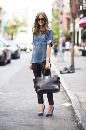 sky blue Topshop shirt - navy asos heels - black Forever 21 pants