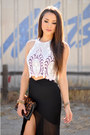 Black-skirt-white-top
