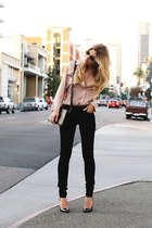 light pink blouse - black pants
